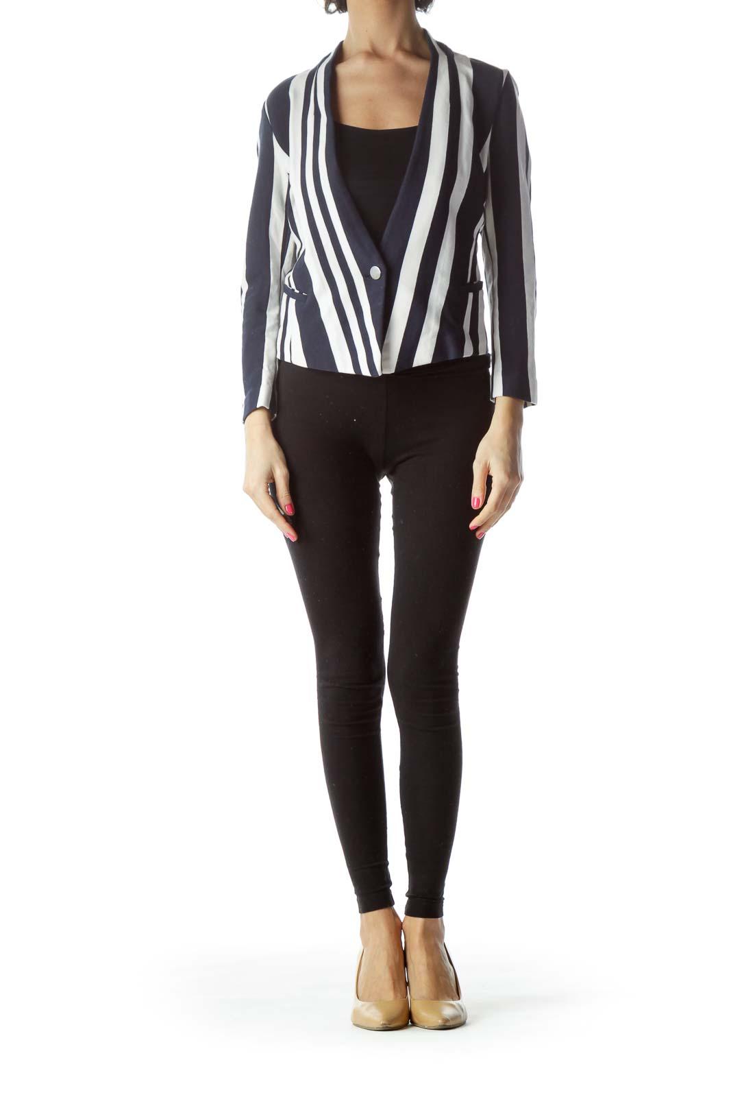 Black White Striped Jacket