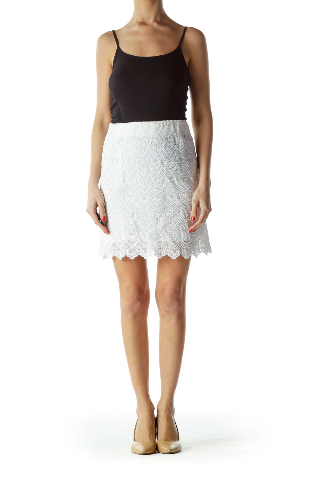 White Lace Textured Mini Skirt