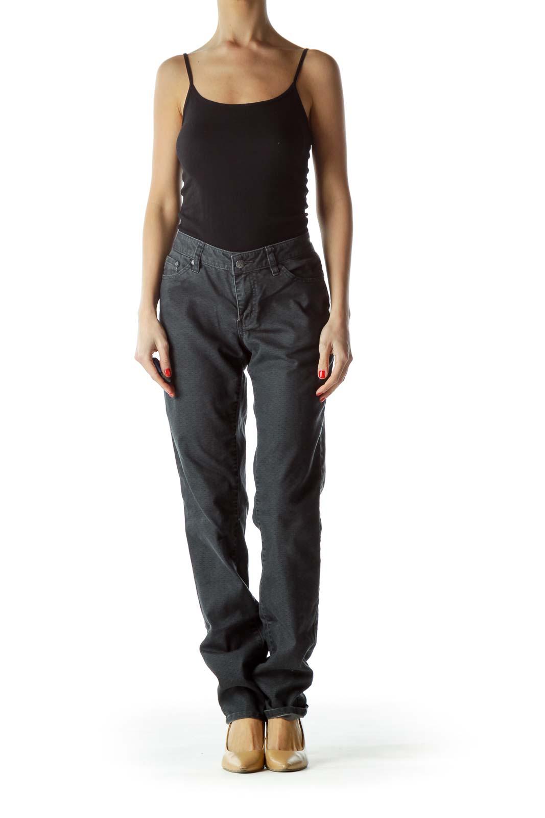 Dark Gray Print Straight-Leg Pants