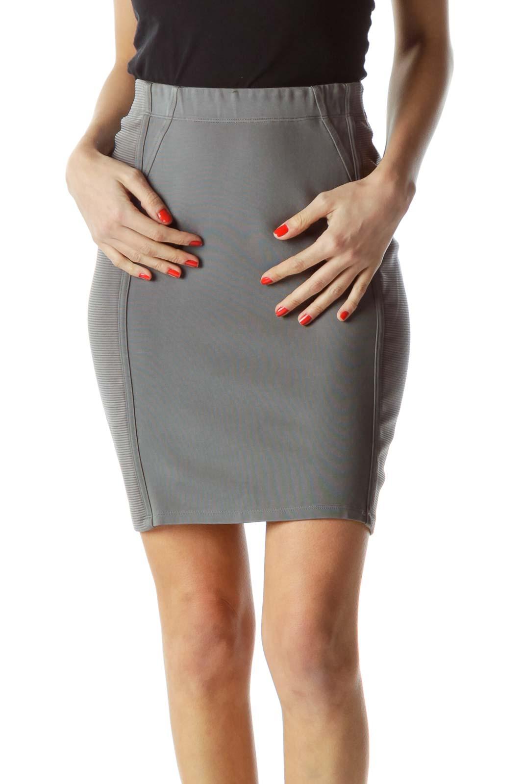 Gray Elastic Textured Pencil Slim-Fit Skirt
