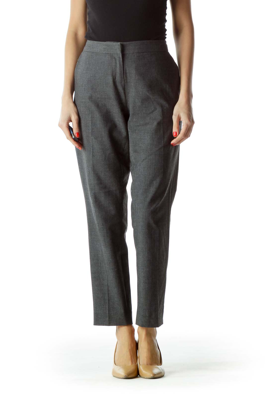 Gray Straight Leg Pocketed Pants