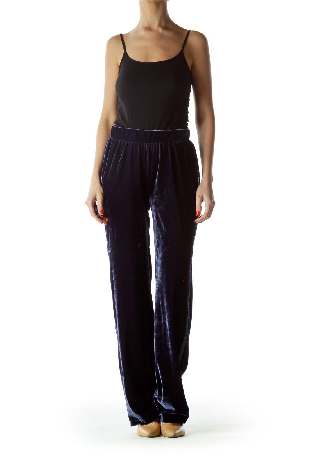 Navy Blue Velvet Elastic Pants