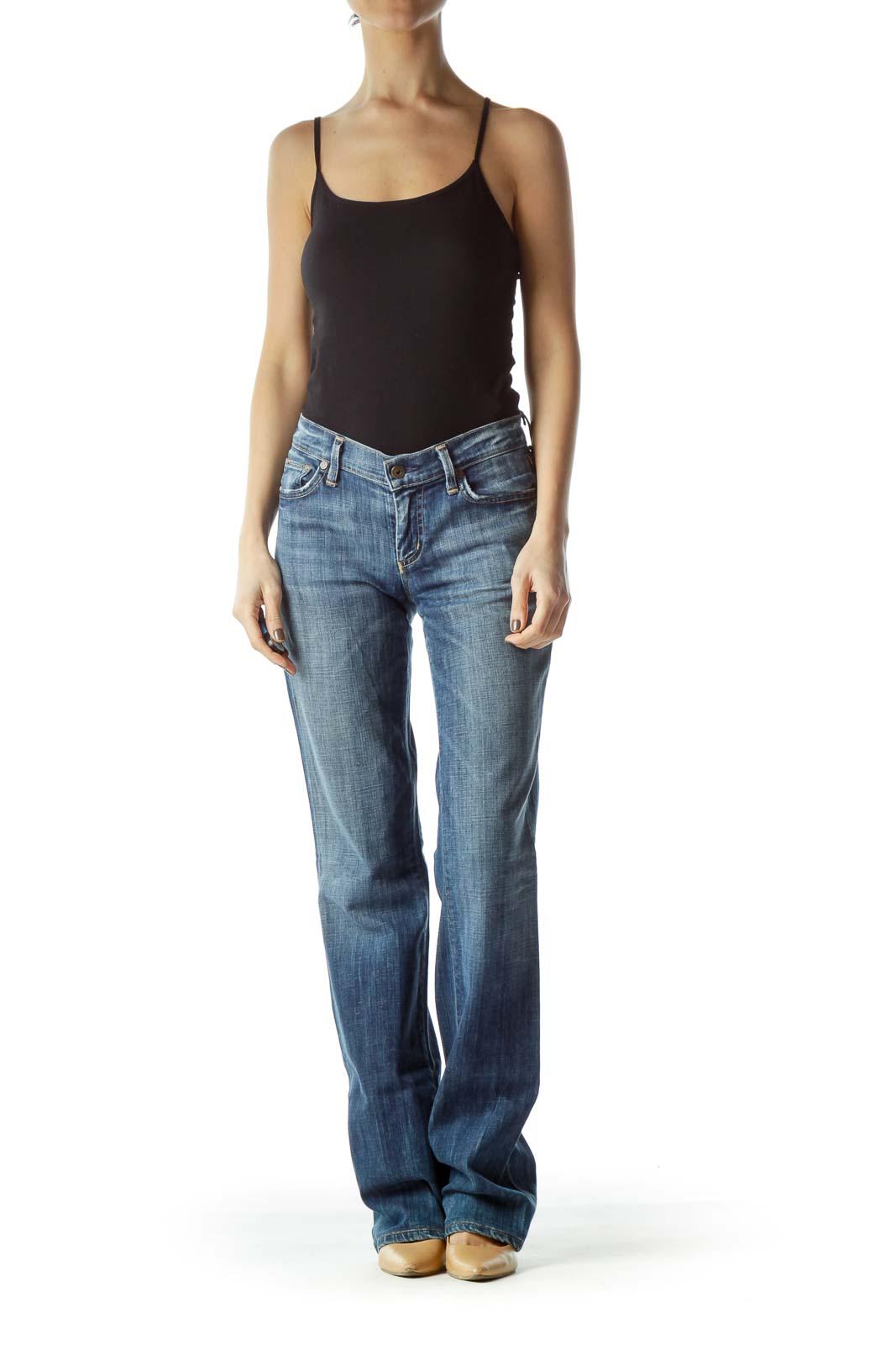 Blue Medium Wash Distressed Pockets Denim Jeans