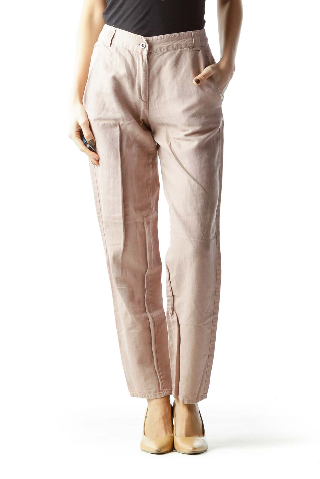 Pale Pink Pocketed Straight Leg Pants