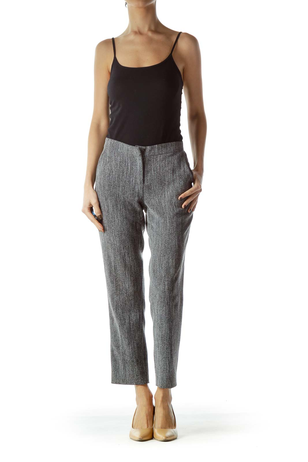 Black White Textured Straight Leg Slacks
