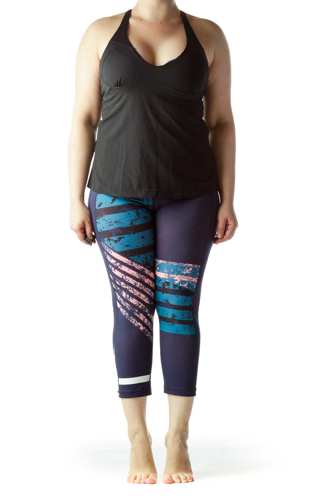Blue Pink Black Print Fitted Sports Pants