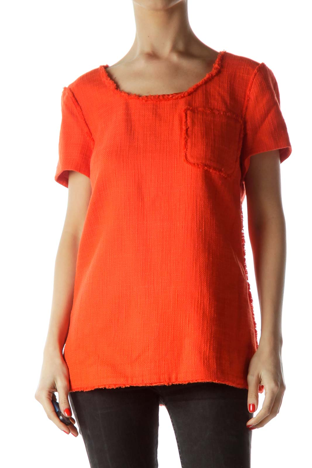 Orange Pocket Short Sleeve Textured Knit Top