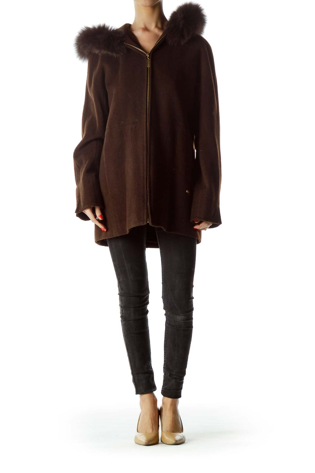 Brown Fur Hood Textured Zippered-Up Coat