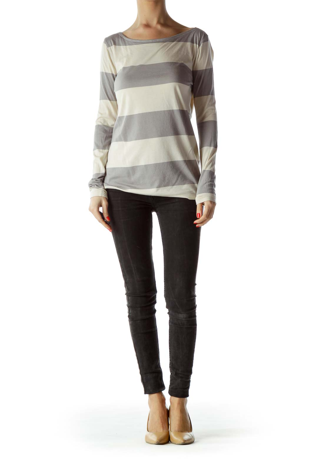 Gray Cream Striped Light Thin Long Sleeve Top