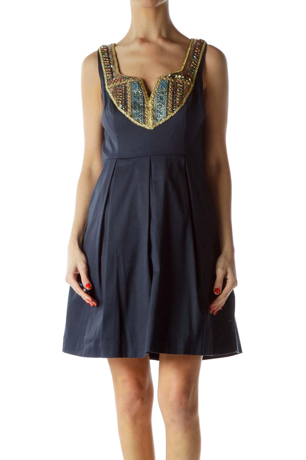 Navy Embellished Flare Dress