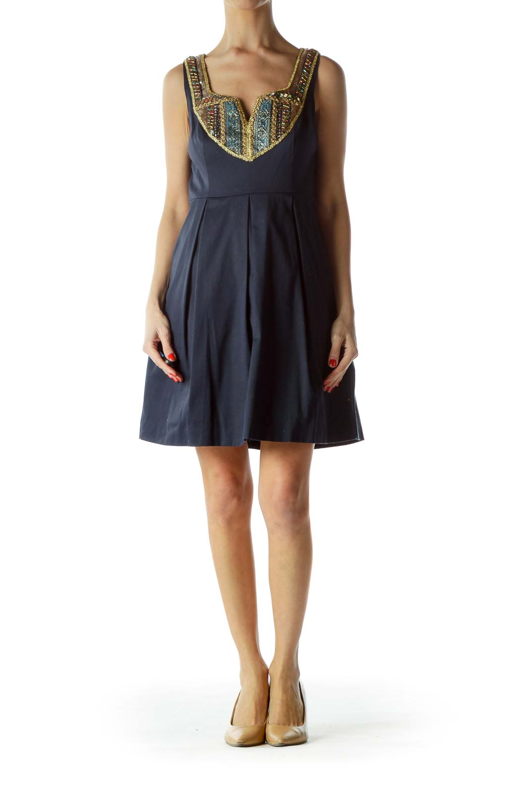 Navy Embellished Flare Dress