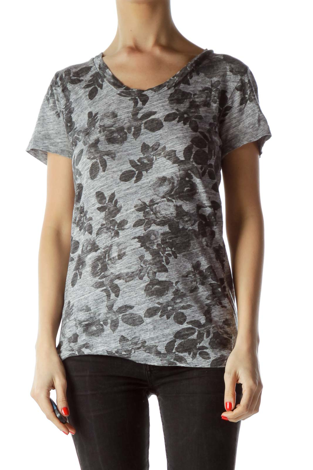 Black Gray Floral Print T-Shirt