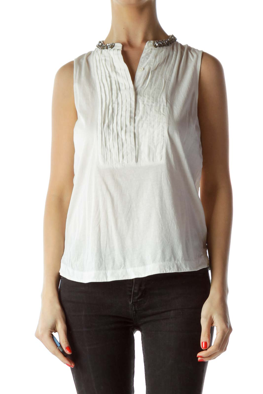 Cream Neck Embellishment Sleeveless Top