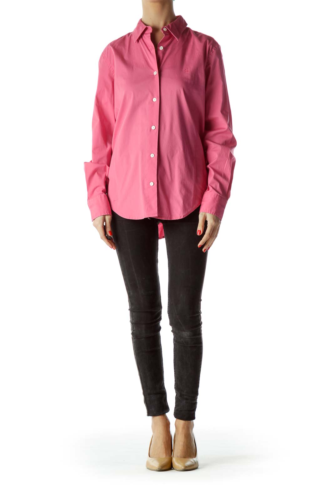 Pink Collared Long Sleeve Buttoned Shirt