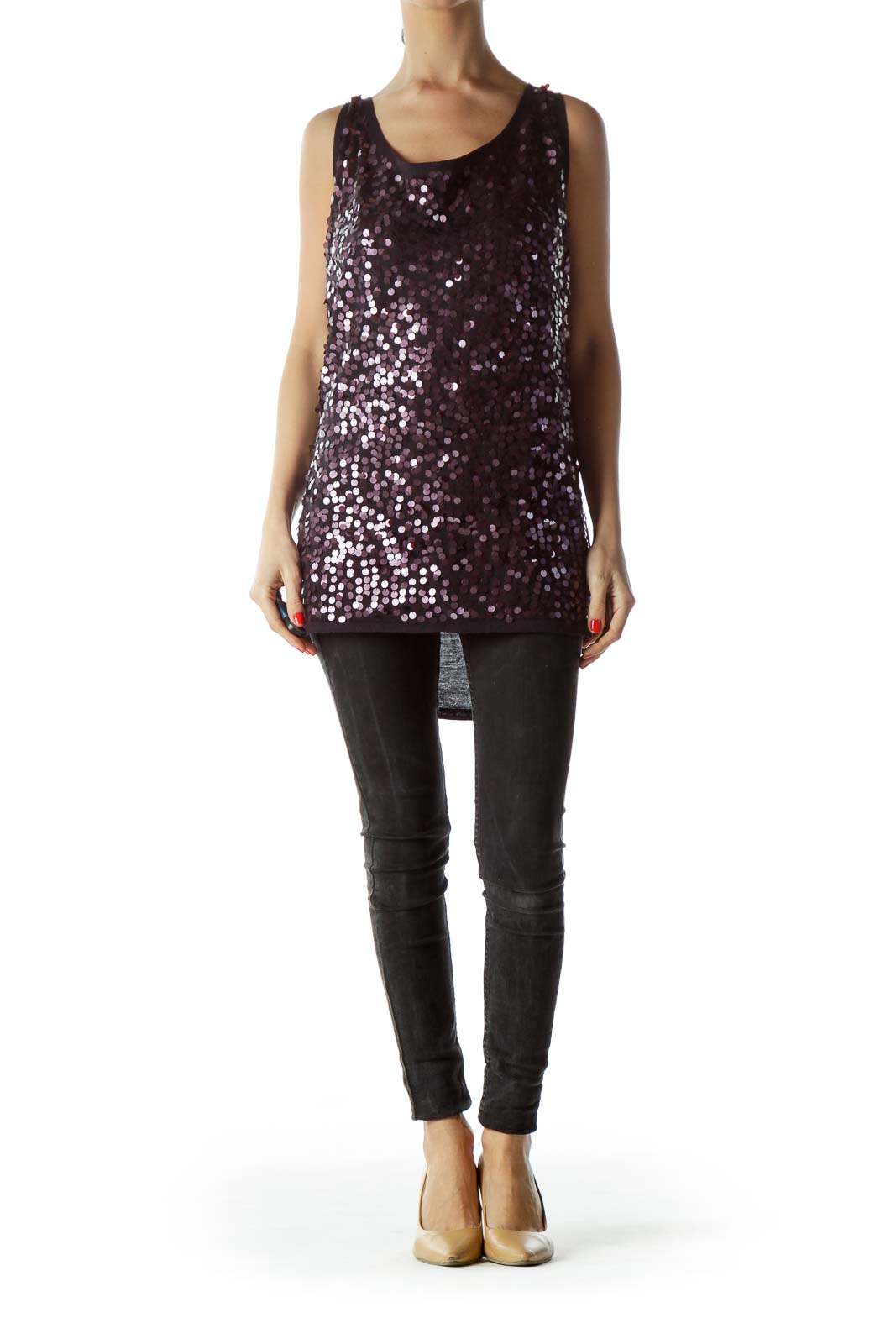 Black Purple Sequins Sleeveless Knit Top