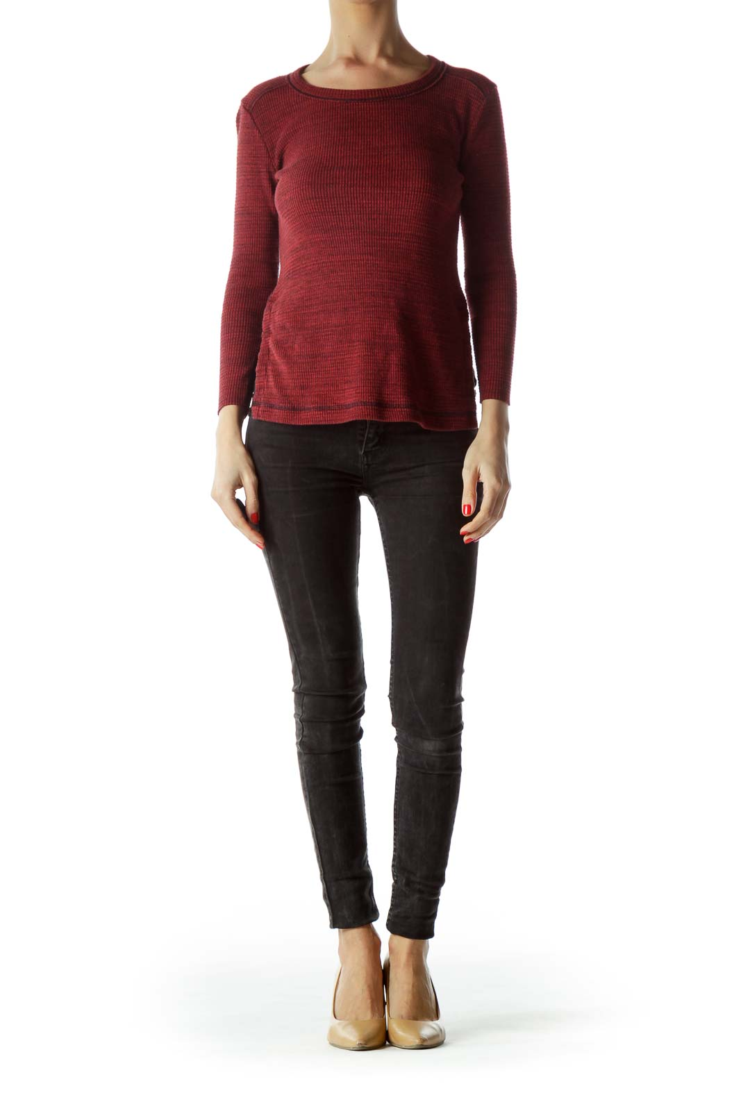 Red Sides Buttoned Long Sleeve Knit Top