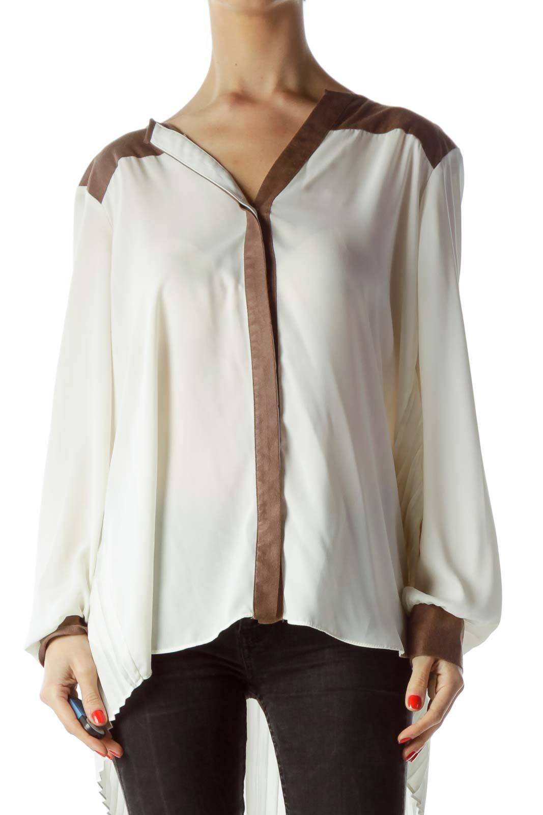 Cream Brown Neckline Back Pleats Flared Shirt