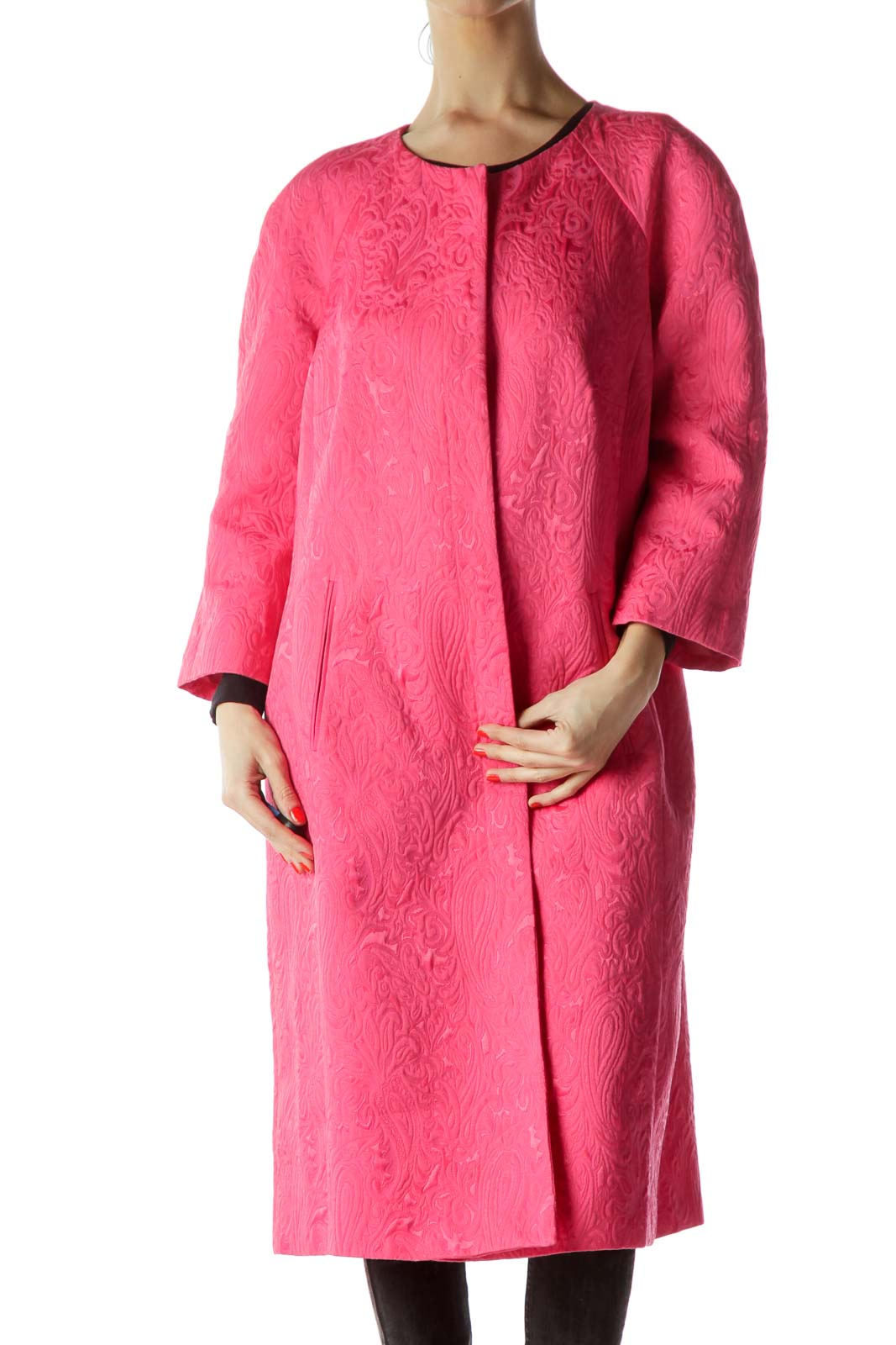 Pink Jacquard Paisley 3/4 Sleeve Long Coat