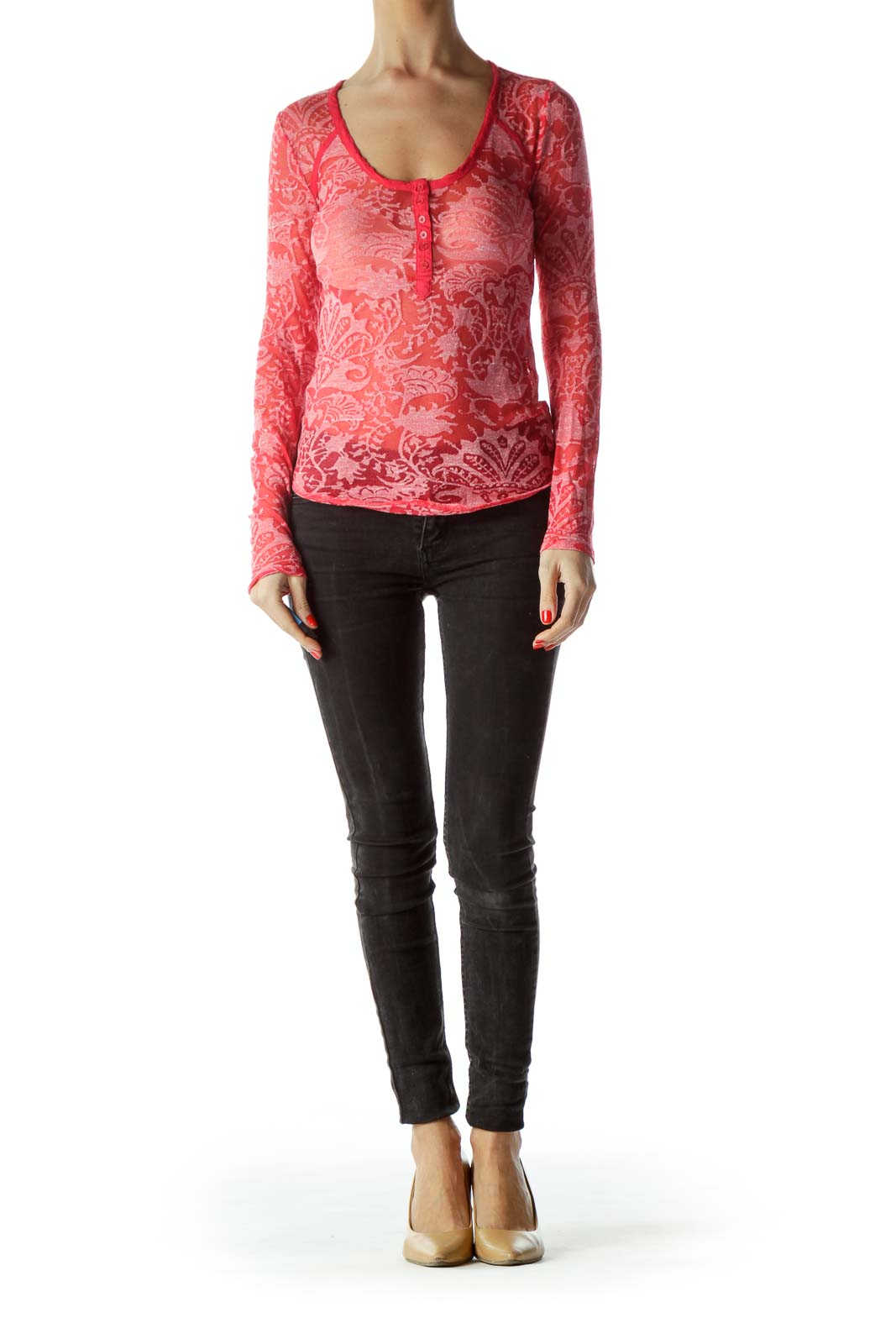 Red Pink See-Through Knit Top