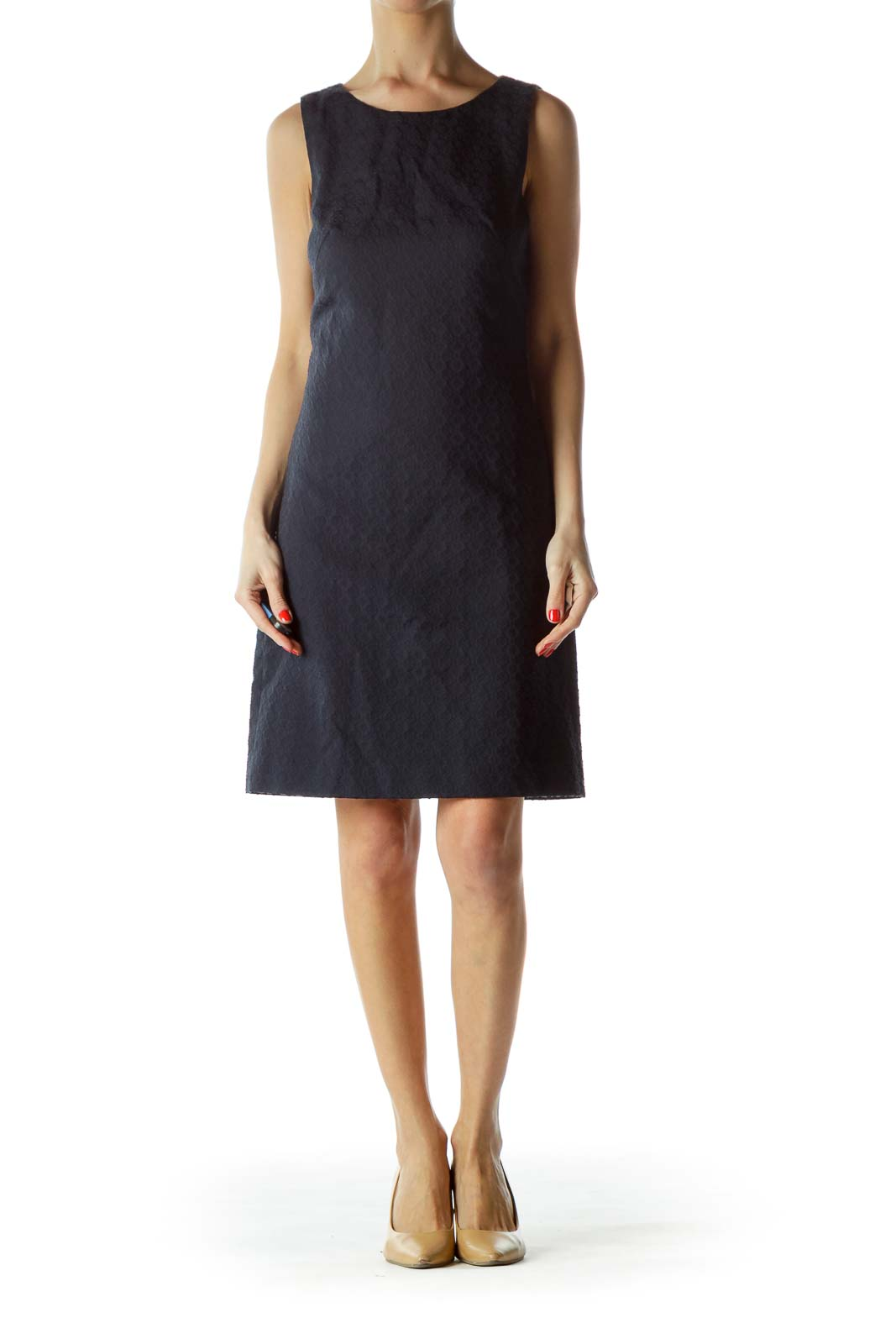 Navy Textured Sleeveless Dress