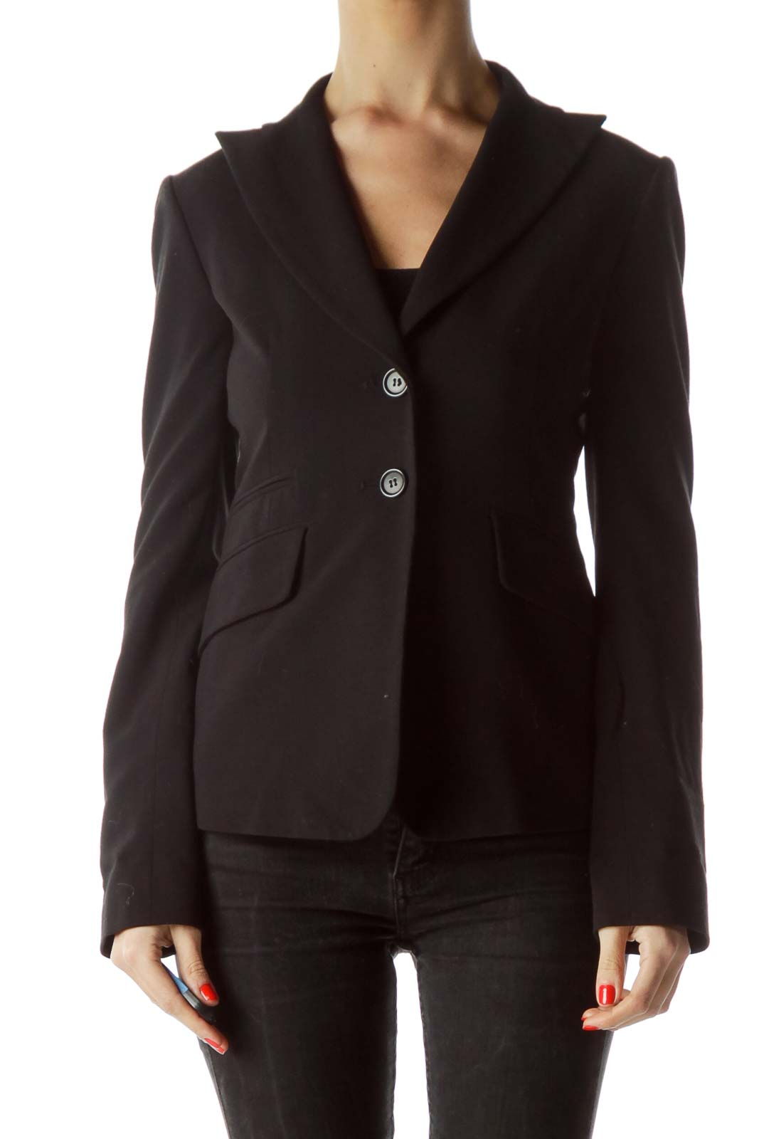 Black V-Neck Buttoned Blazer