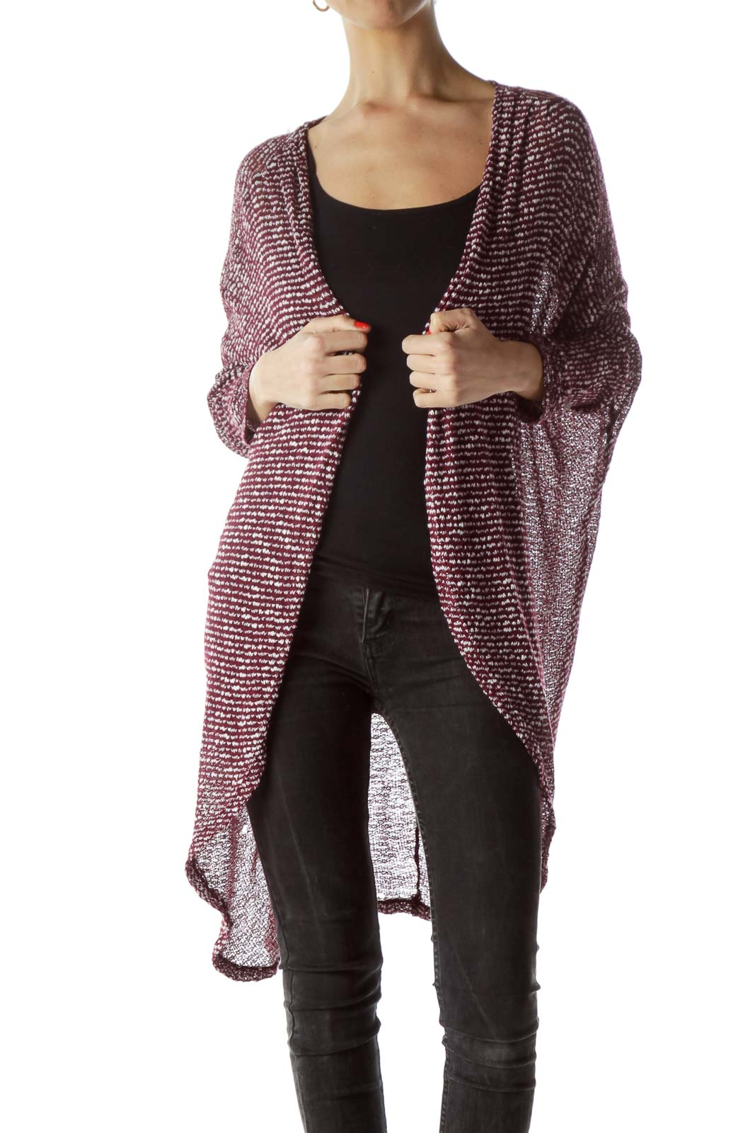 Burgundy White Textured Knitted Cardigan