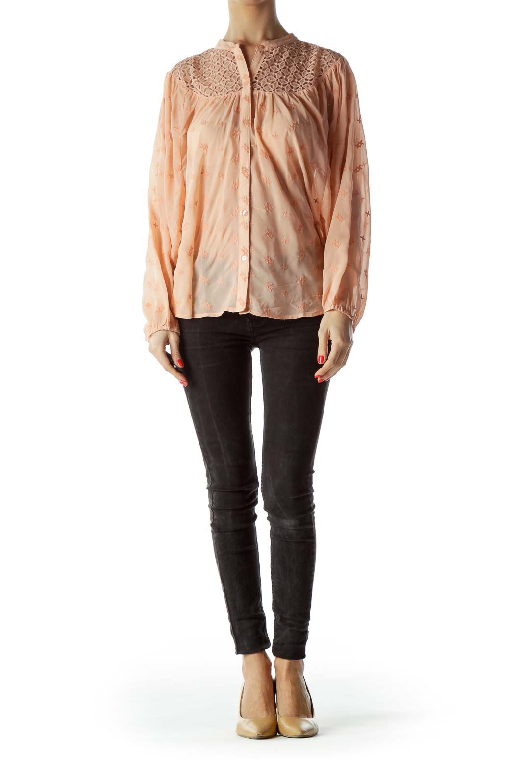 Peach Color Embroidered Long Sleeve Blouse