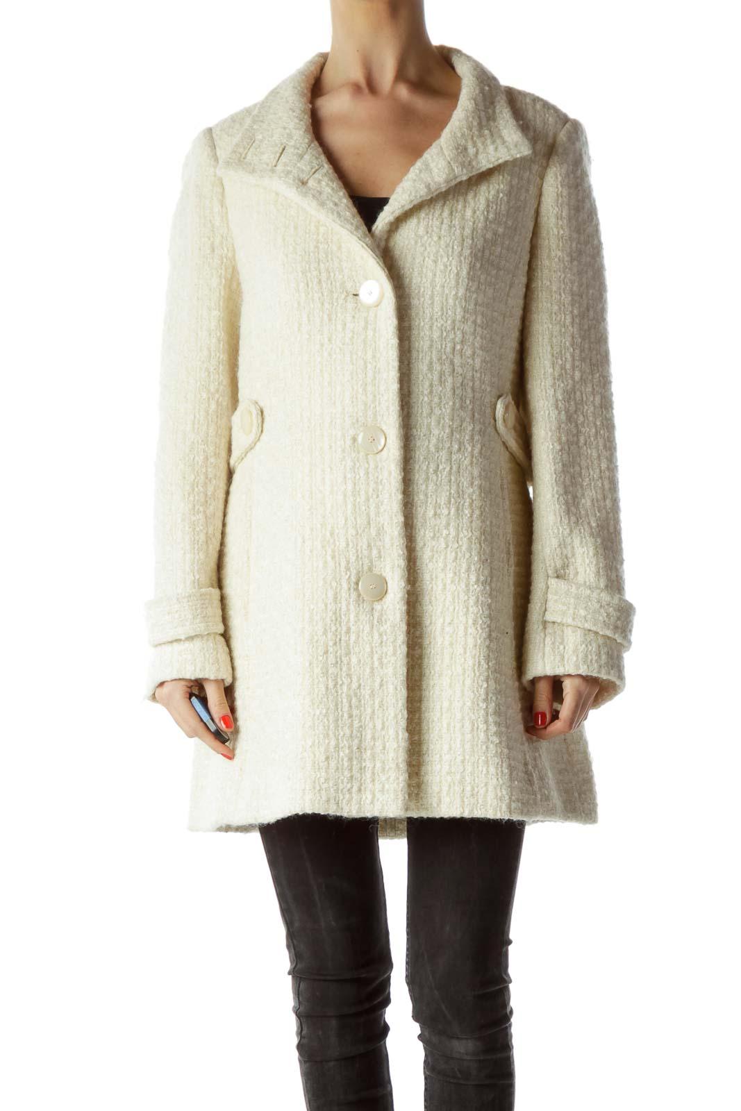 Cream Buttoned High Neck Tweed Coat