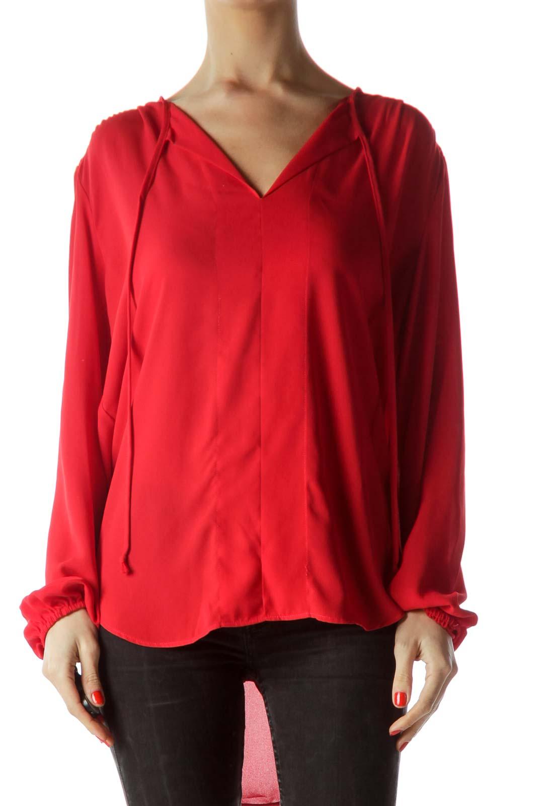 Red V-Neck Long Sleeve Blouse