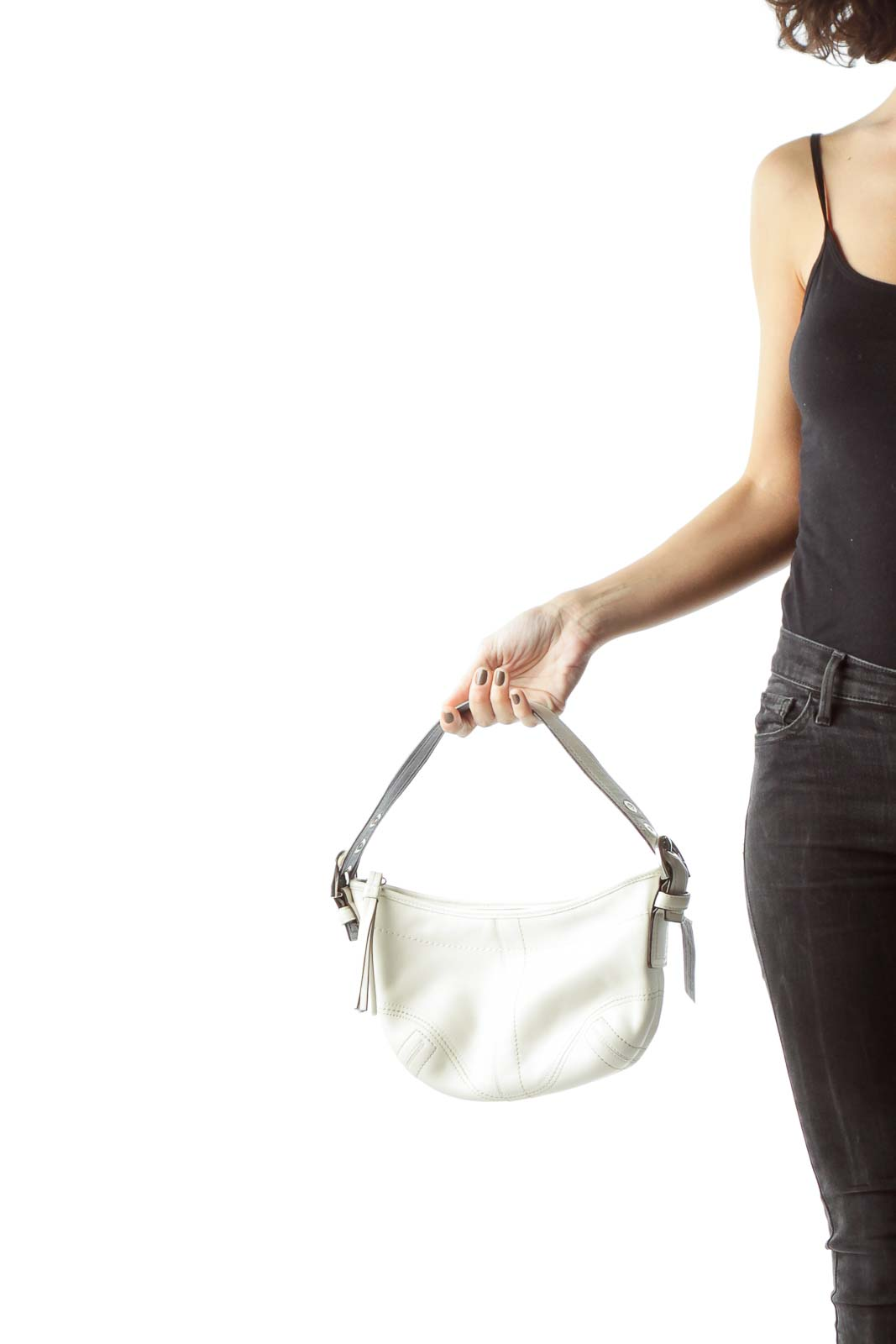 Cream Buckle Hardware Shoulder Bag