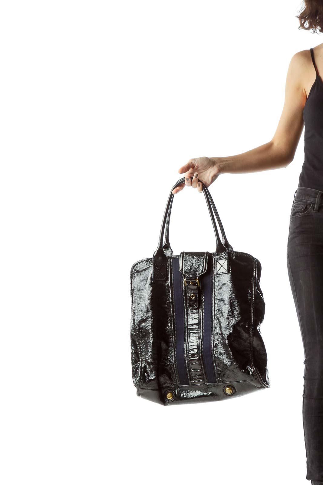 Black Blue Patent Buckle Hardware Tote Bag