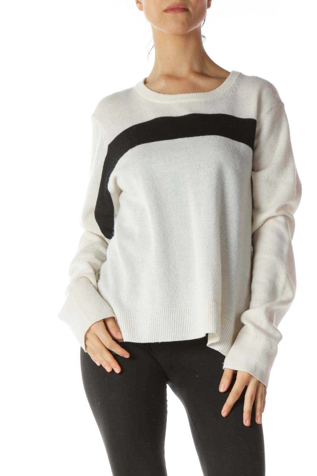 Cream Black Front Stripe 100% Cashmere Sweater
