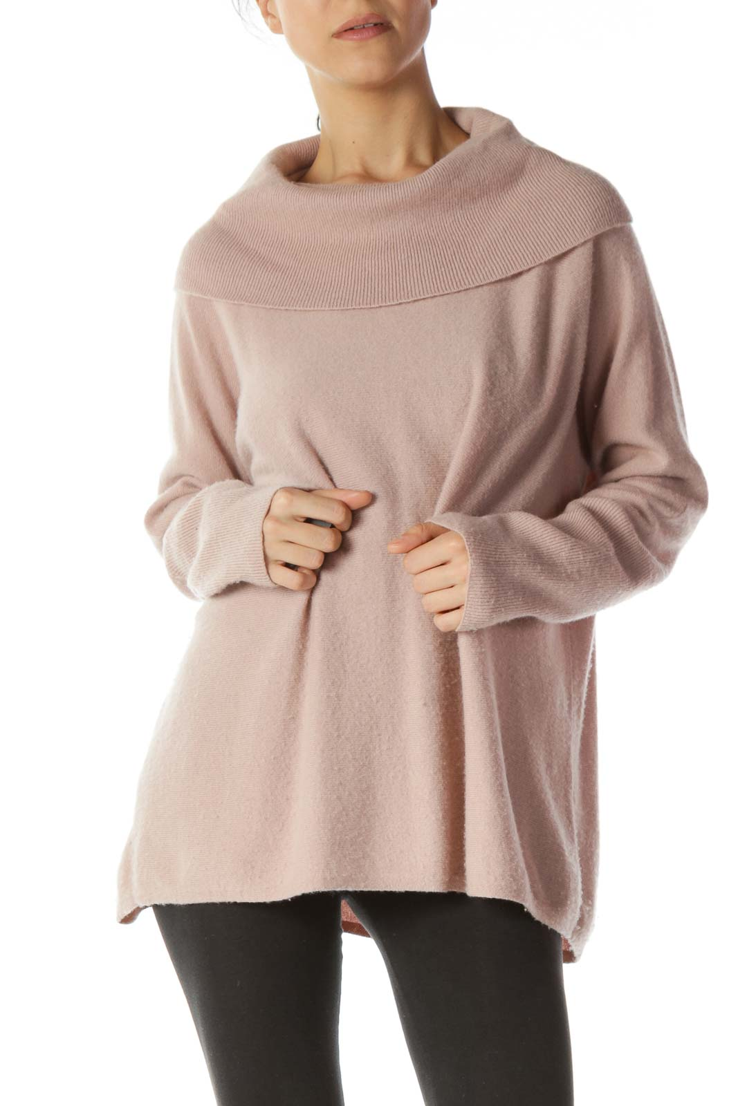 Pastel Pink 100% Cashmere Cowl Turtleneck Sweater