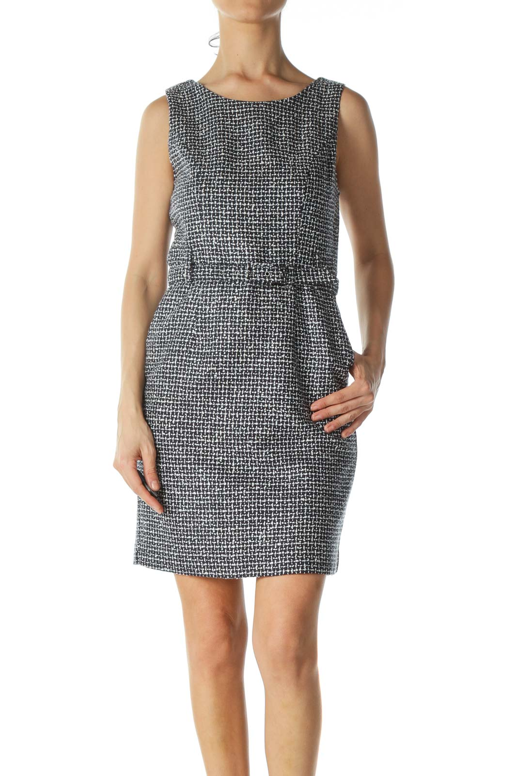 Navy Blue White Knit Texture Belted Work Dress
