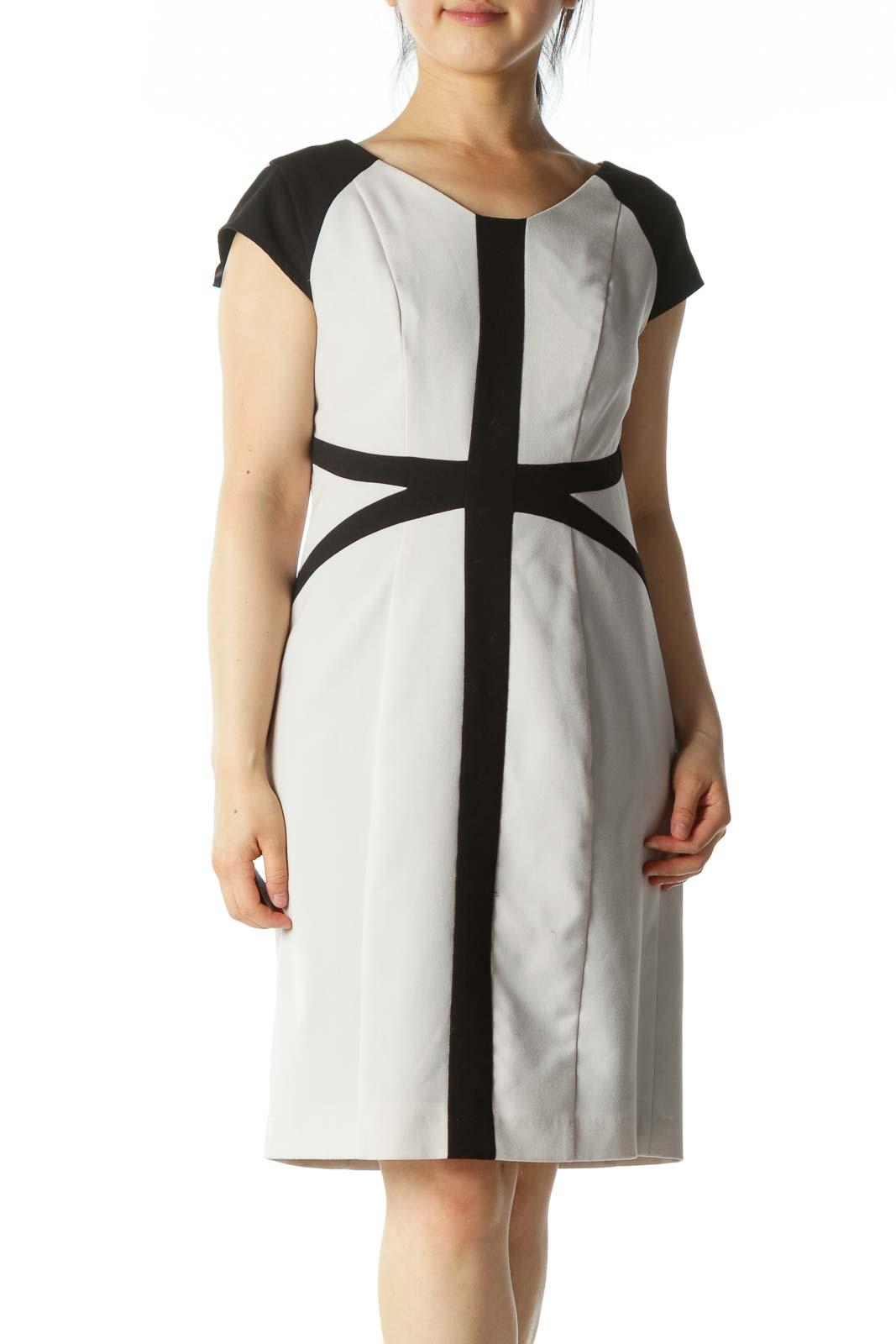 Gray Black Geometric Design Fitted Work Dress