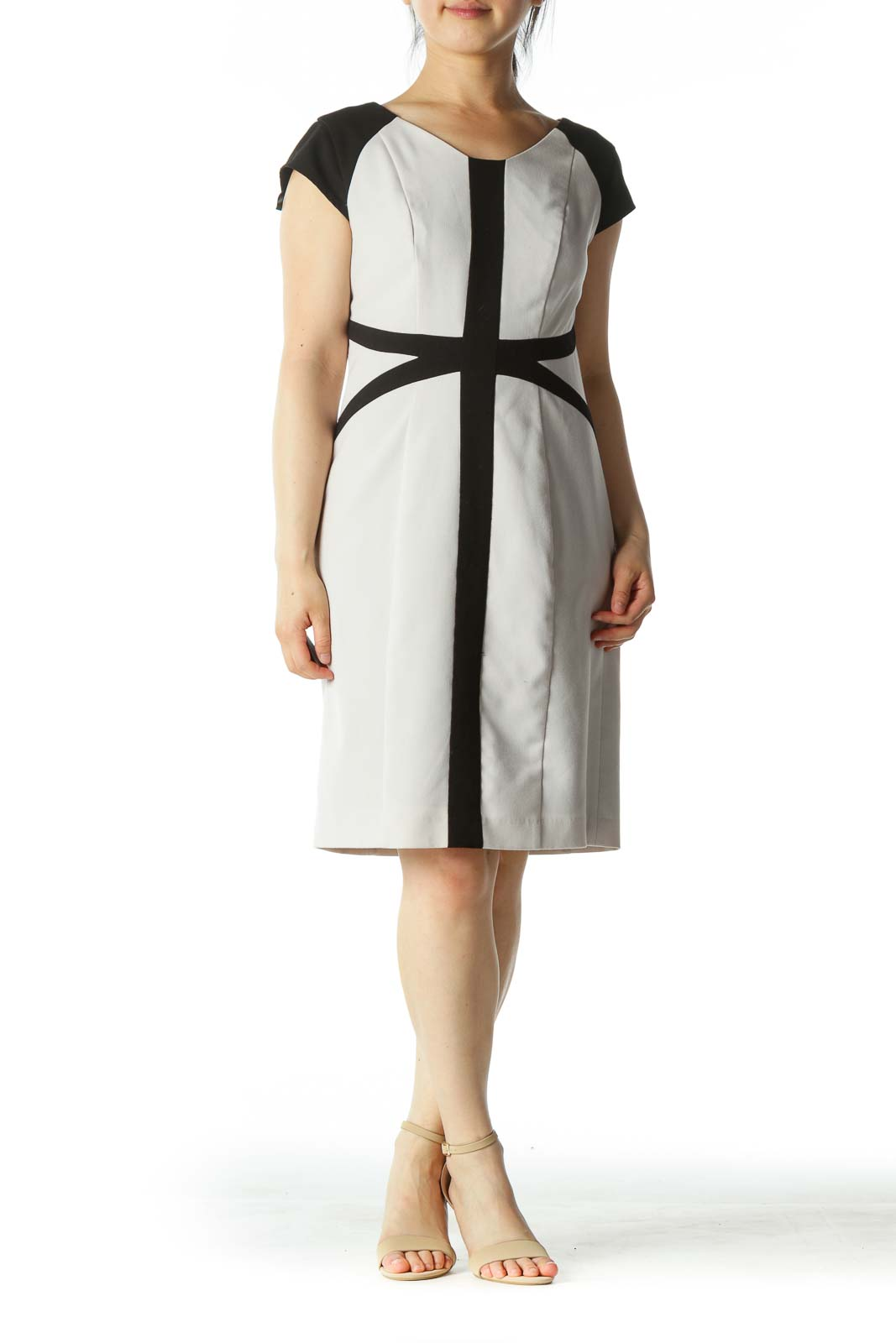 Gray Black Geometric Design Fitted Work Dress