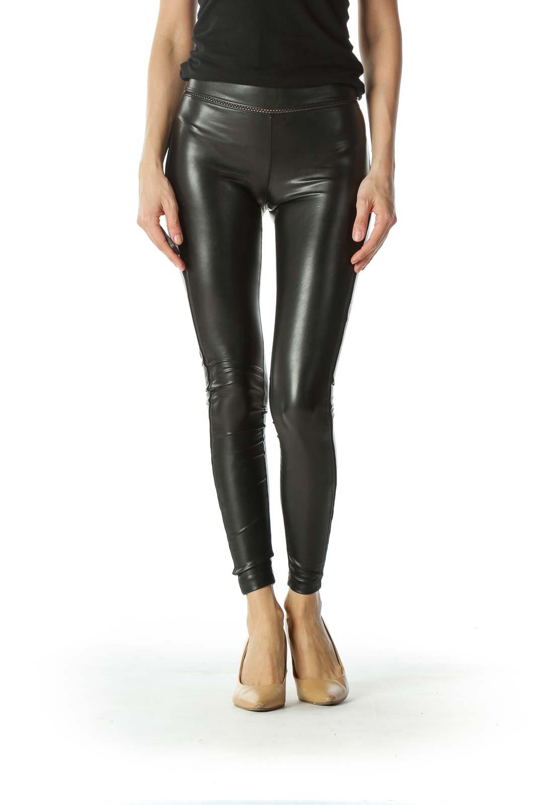 Black Mesh Detailed Leather Legging