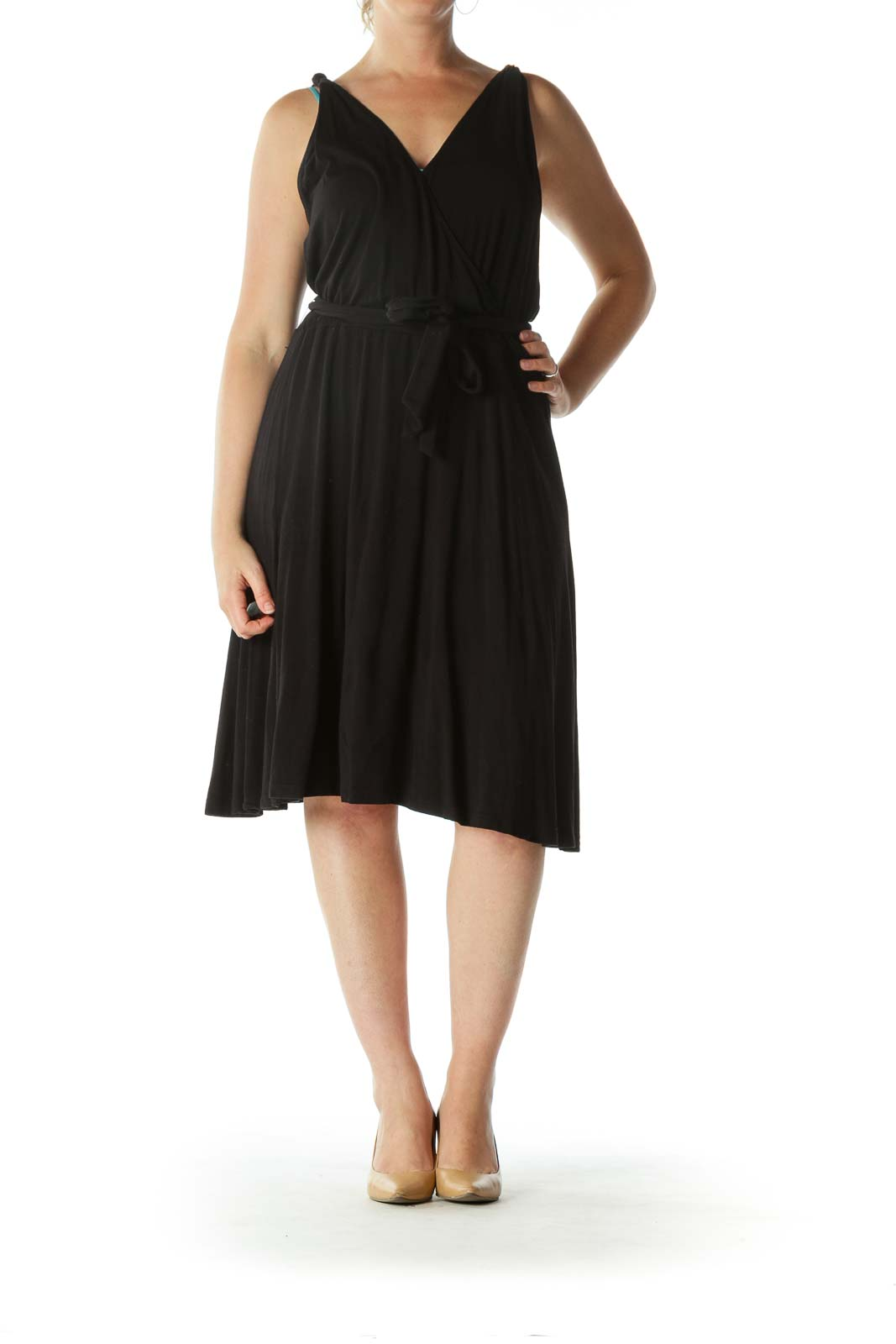 Black Surplice Neckline Belted Flared Day Dress