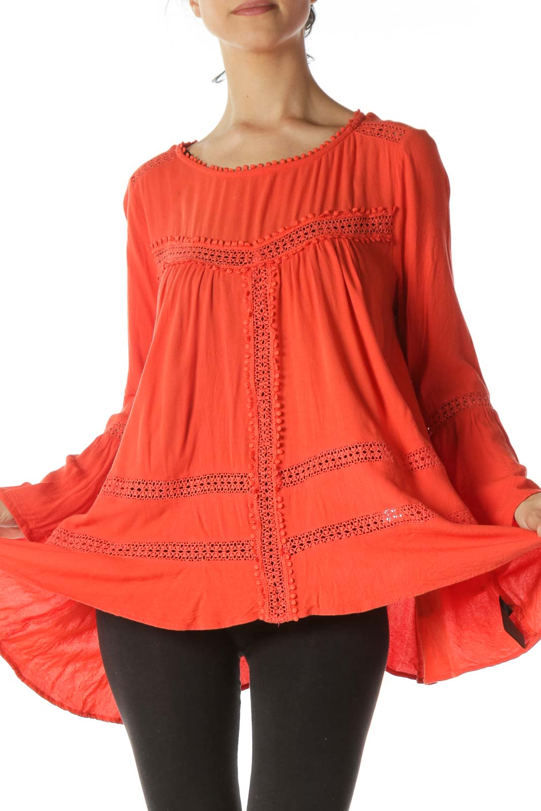 Orange Lace Trim Body Details Flared Top