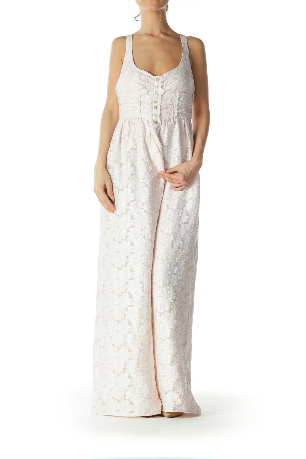Light-Pink Flower-Lace-Body Buttoned Maxi Dress