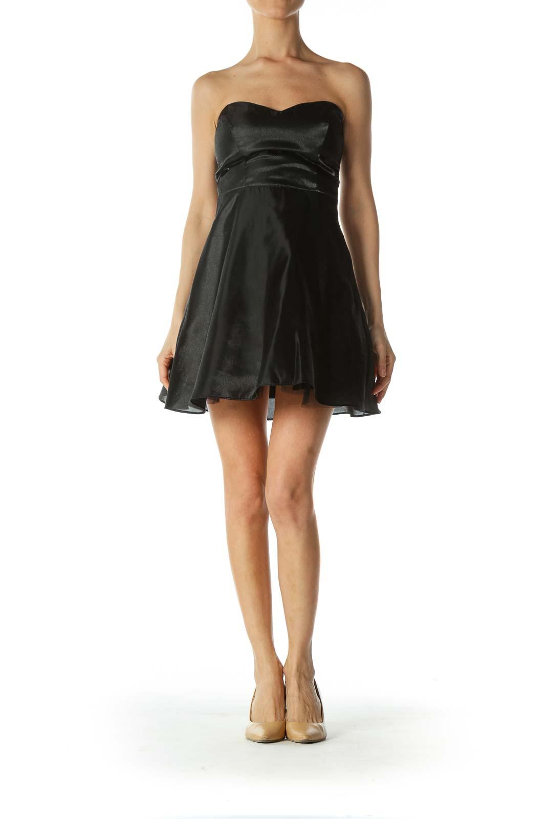 Black Shimmery Strapless Cocktail Dress