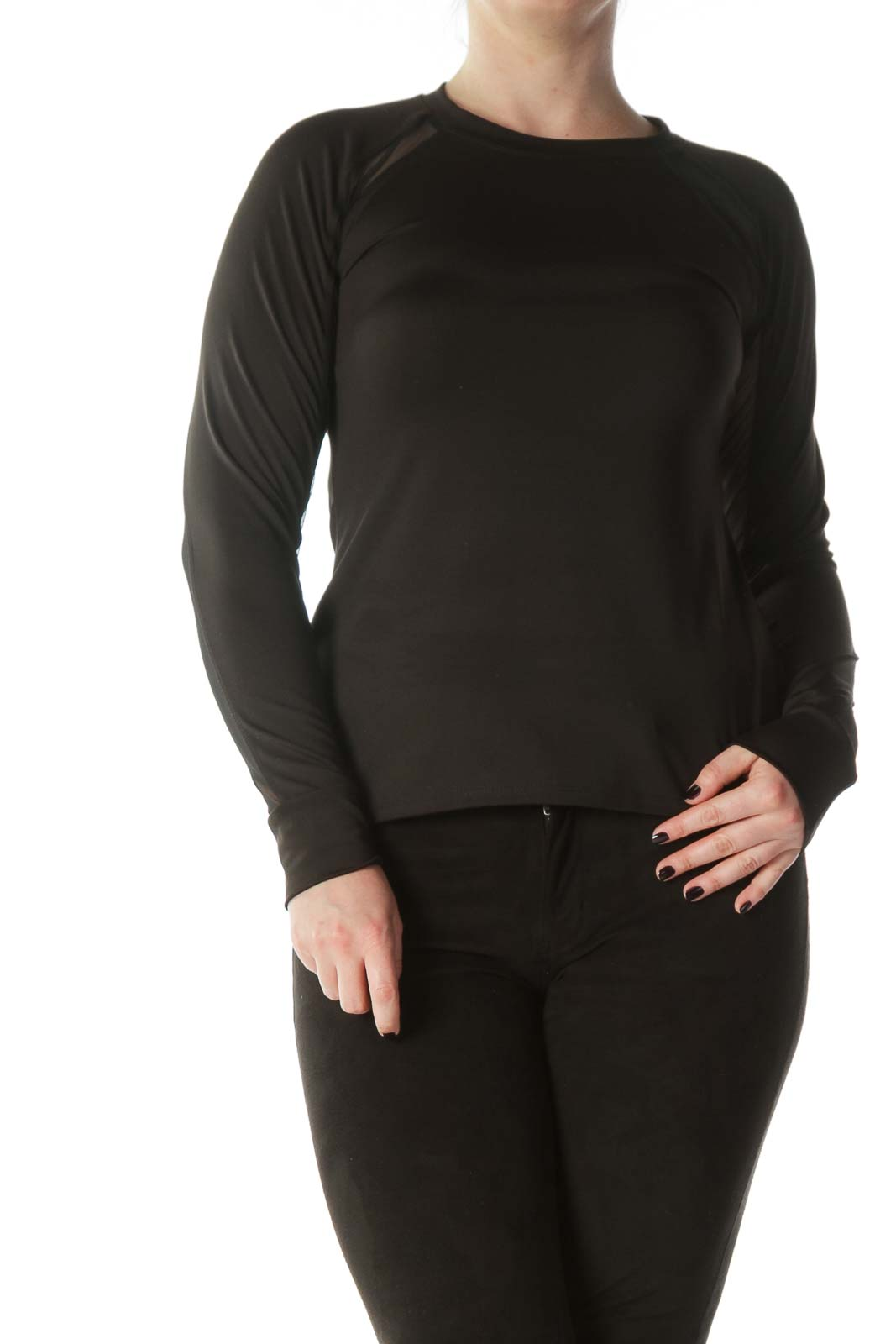 Black Mesh Arm Detail Long Sleeve Sports Top