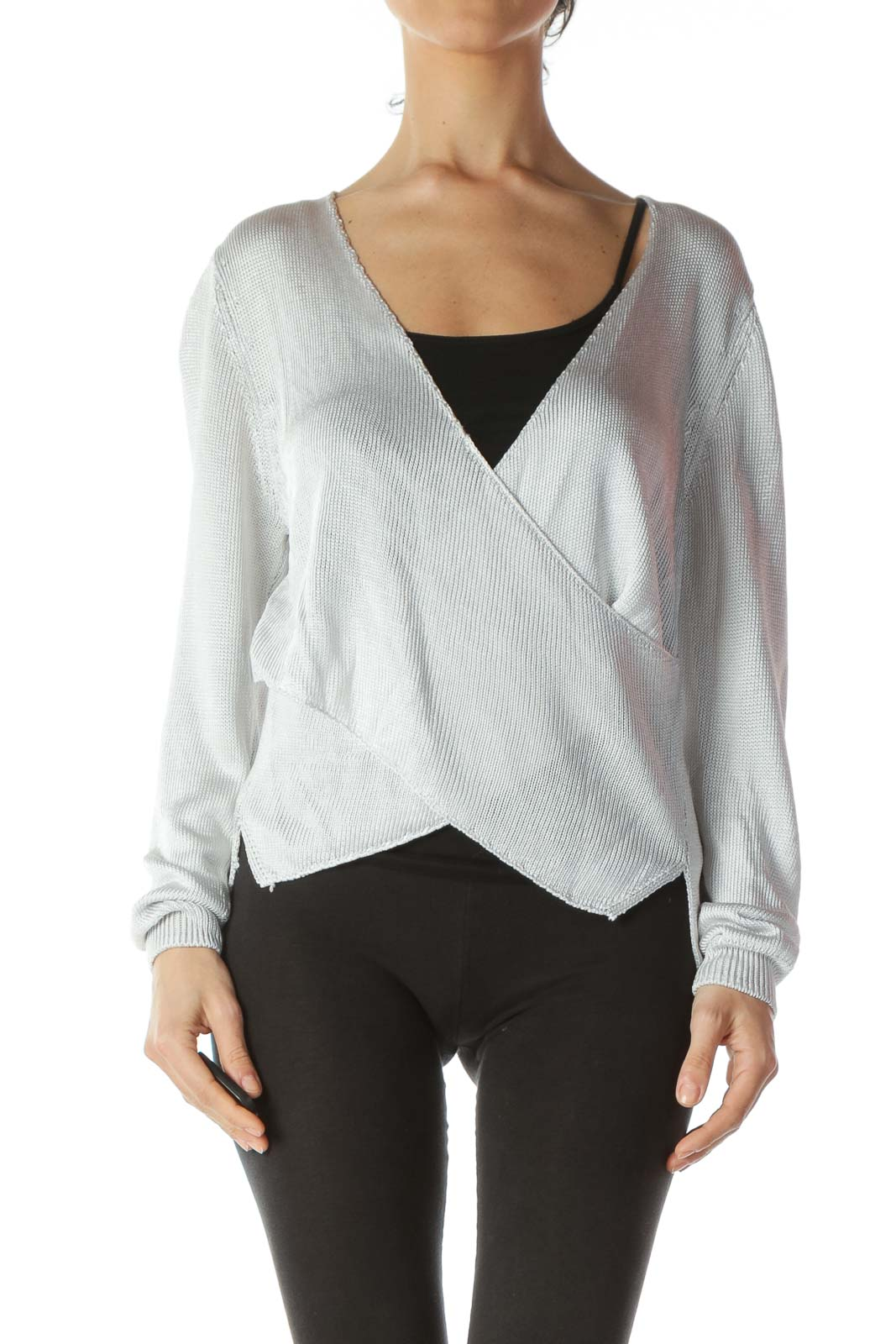 Silver V-Neck Wrap See-Through Knit Top