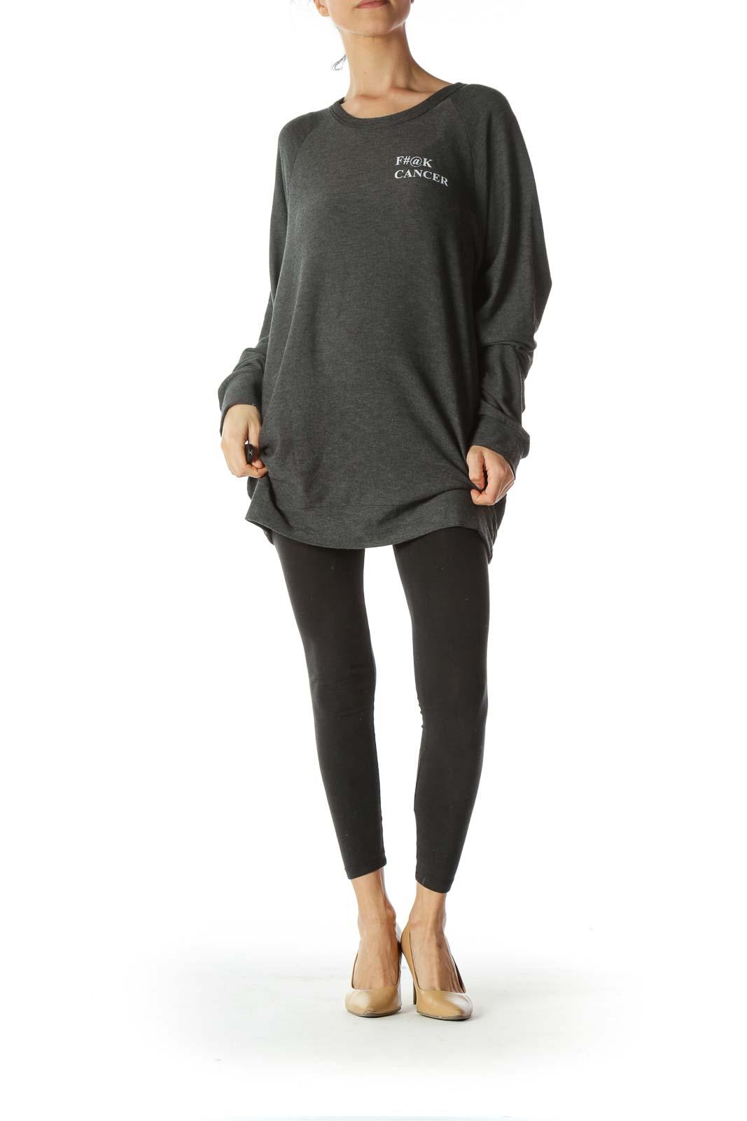 Gray Soft Round-Neck Front-Text Sweatshirt