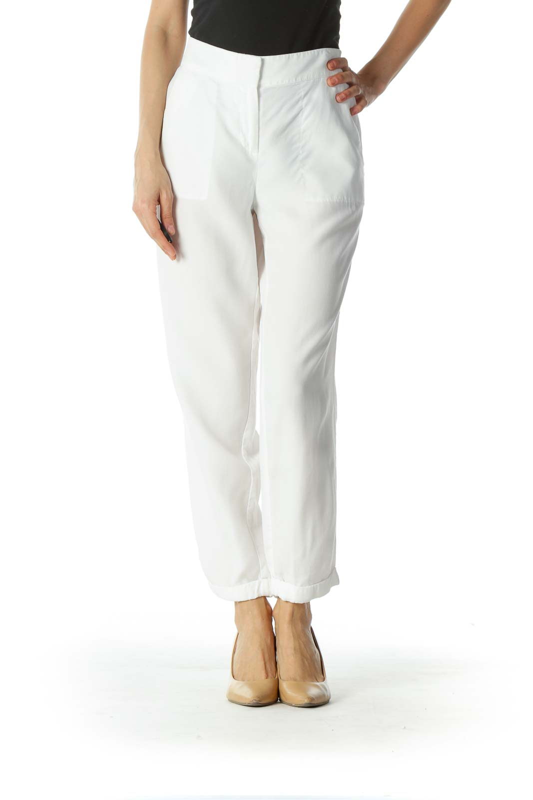 White Slim-Fit Cropped Pant