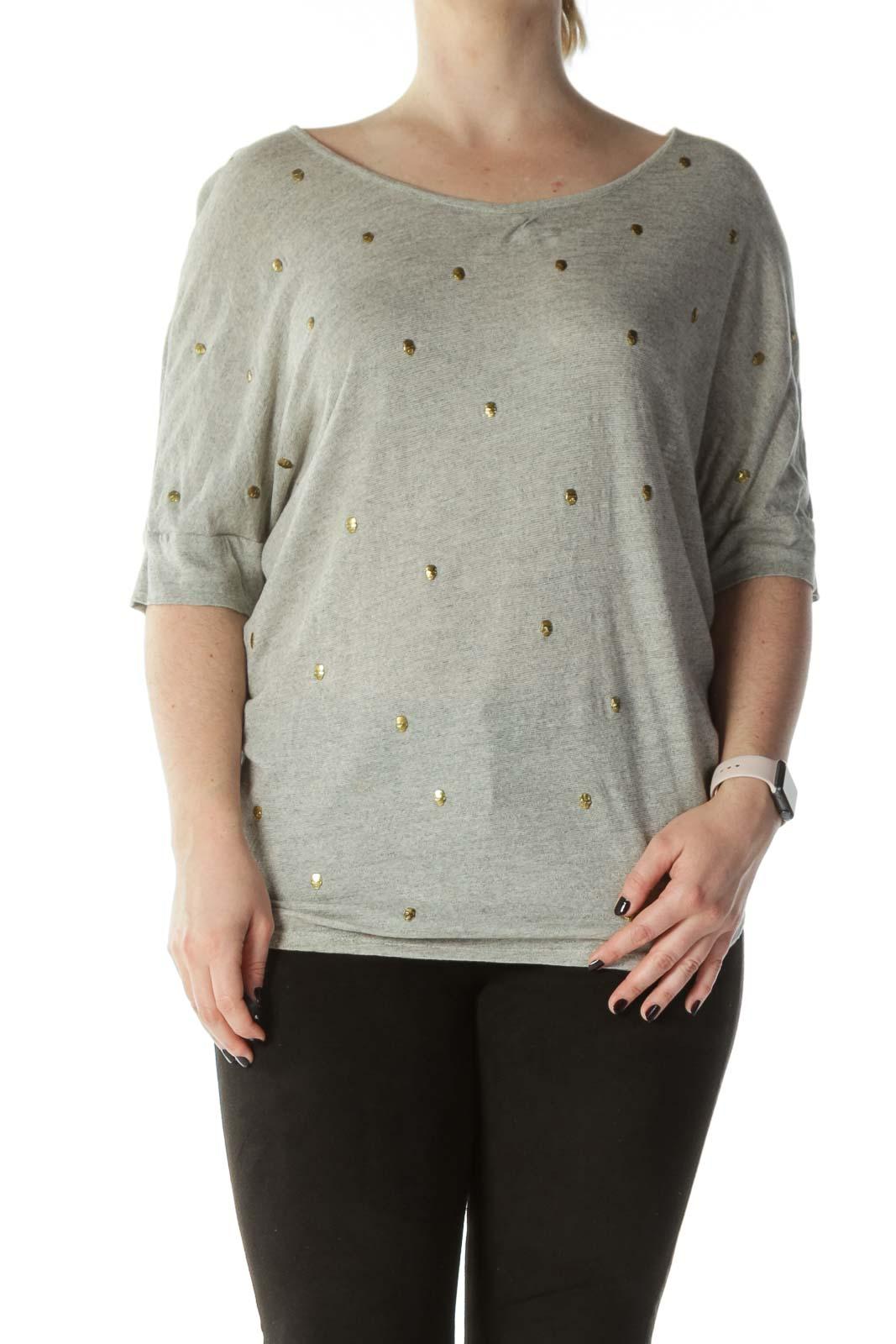 Beige Gold-Skull-Studs Knit T-Shirt