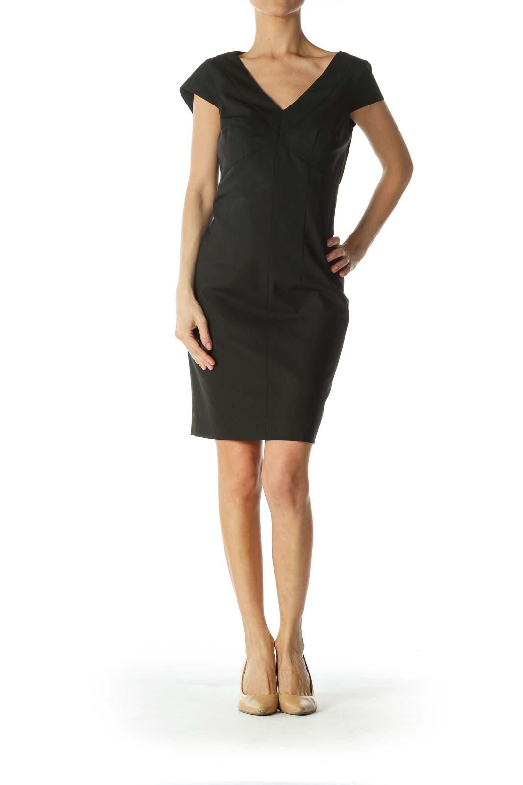 Black Short-Sleeve Work Dress