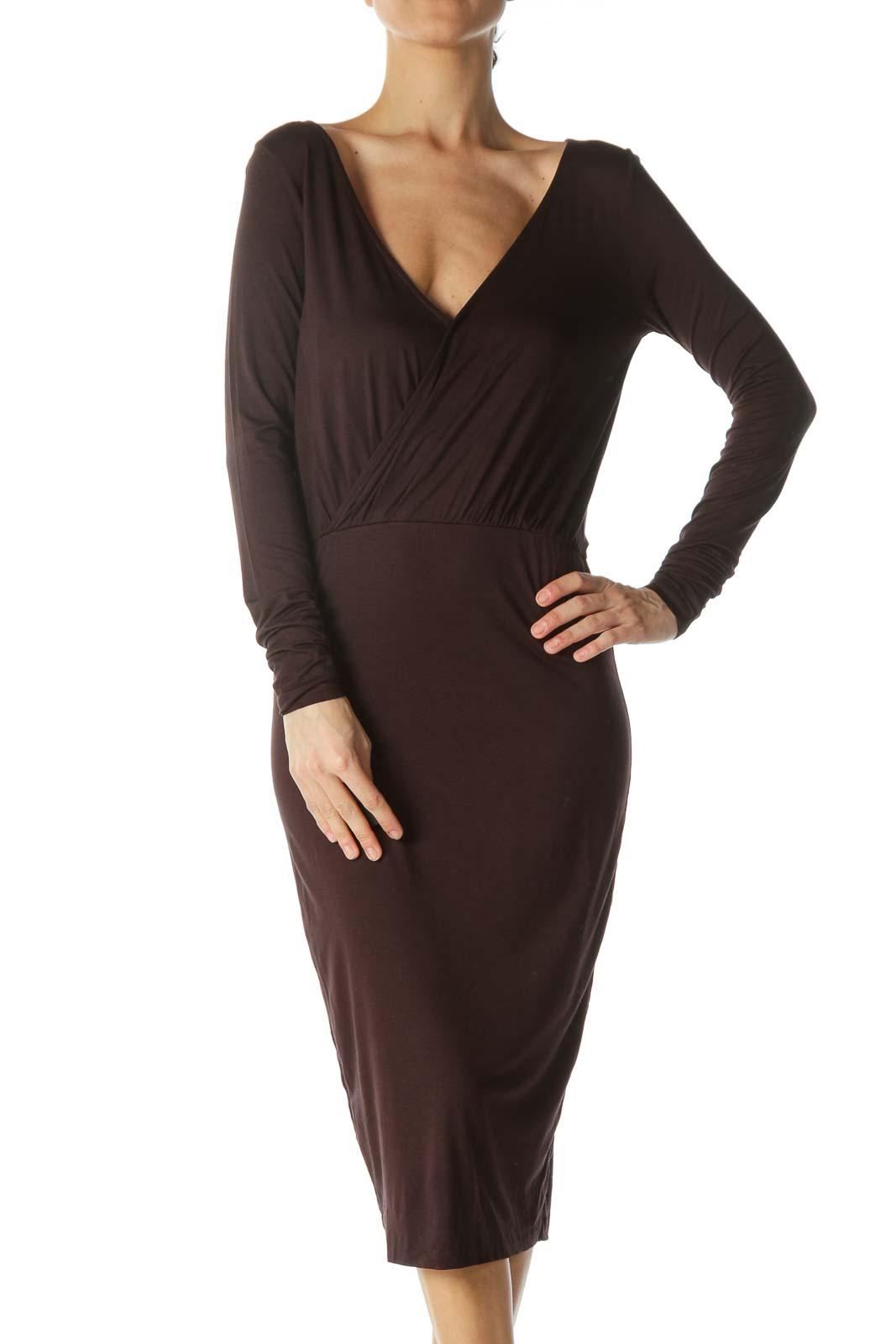 Dark Brown V-Neck Dress