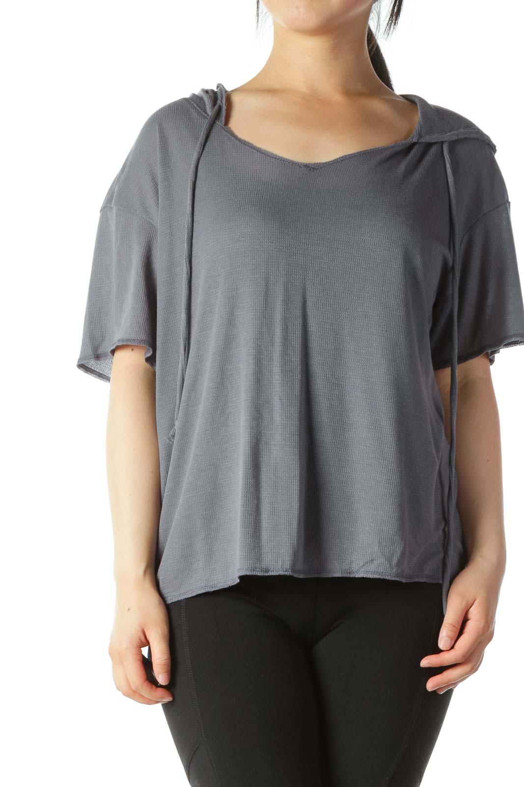 Gray Hooded Short-Sleeve Light Knit Top