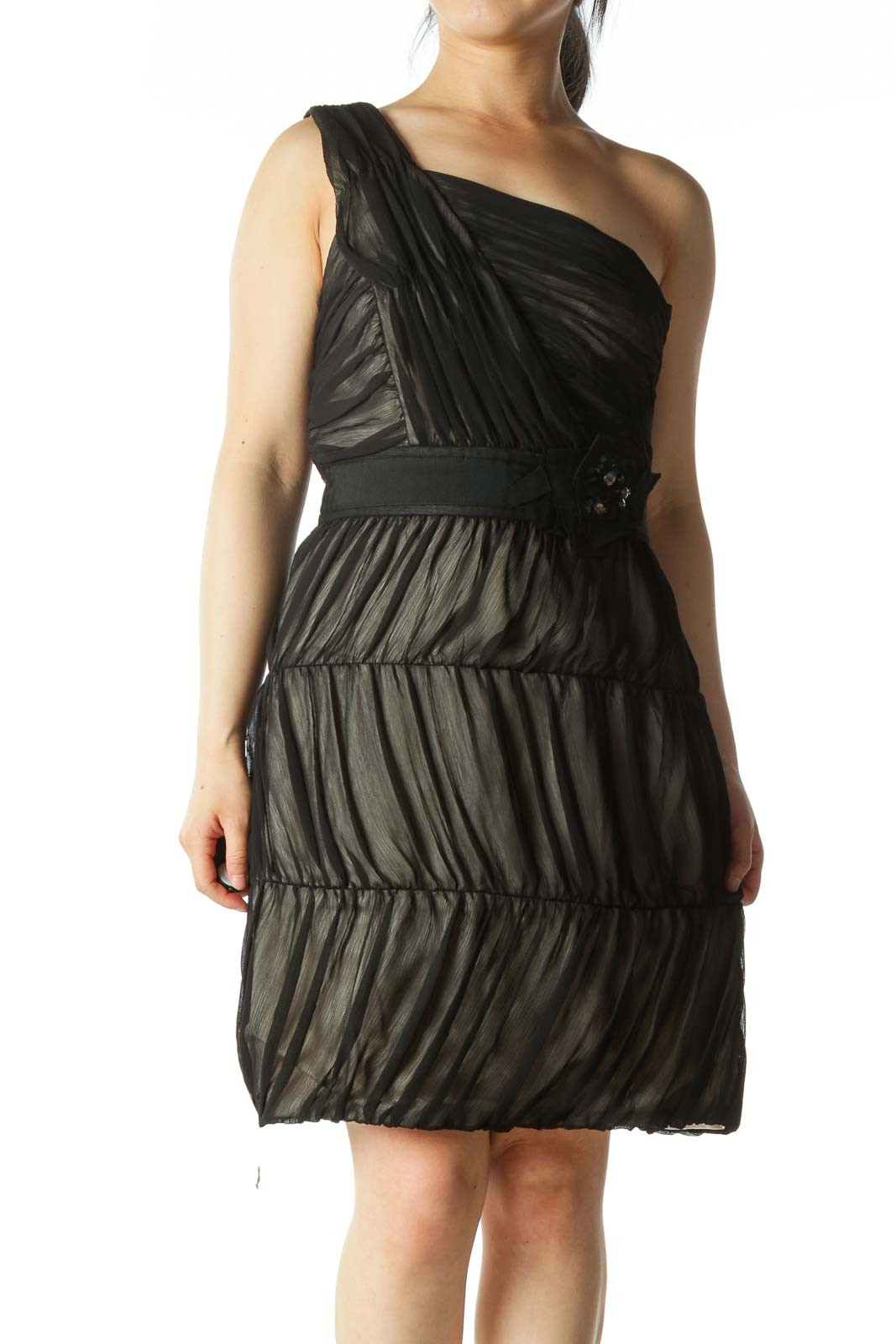 Black Chiffon One-Shoulder Dress
